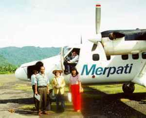Arrival at Serui airport with the son of S. Papare & his wife (1996)