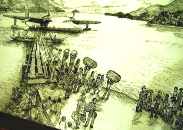 Scetch of the arrival of exiled persons (1946) at Serui