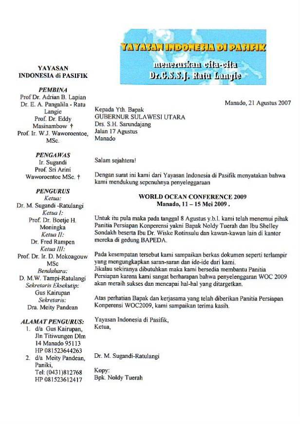 Surat kepada Gubernur Sarundajang