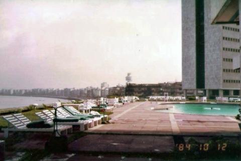 View of pool and Mumbai