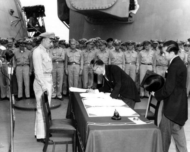 Shigemitzu, Japan's Foreign Affairs Minister signs surrender, 2 Sept. 1945 (from Wikipedia)