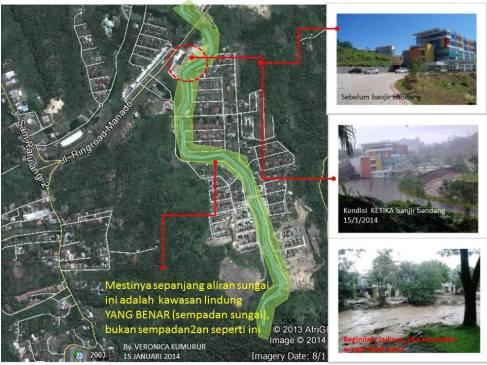 Penjelasan teradap kejadian banjir di daerah Citraland, Manado Selatan