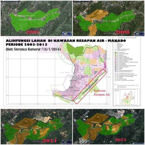 Memperlihatkan area yang seharusnya melindungi daerah kota Manado