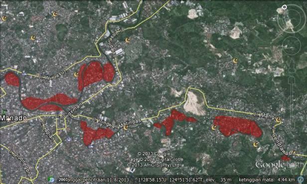 Pocket2 daerah dimana warga terperangkap banjir Manado.